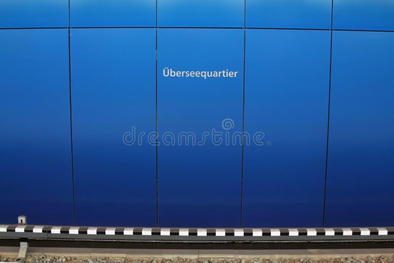Ondergrondse post meer ueberseequartier Hamburg stock foto's