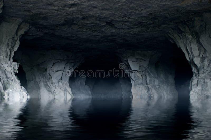 Ondergrondse rivier in een donker steenhol stock afbeeldingen