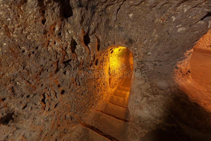 Ondergrondse stad in Derinkuyu stock foto