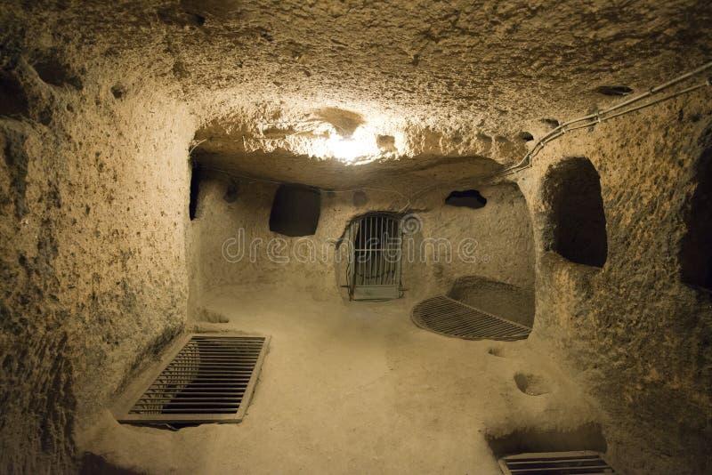 Ondergrondse Stad, Reis aan Cappadocia, Turkije stock afbeeldingen