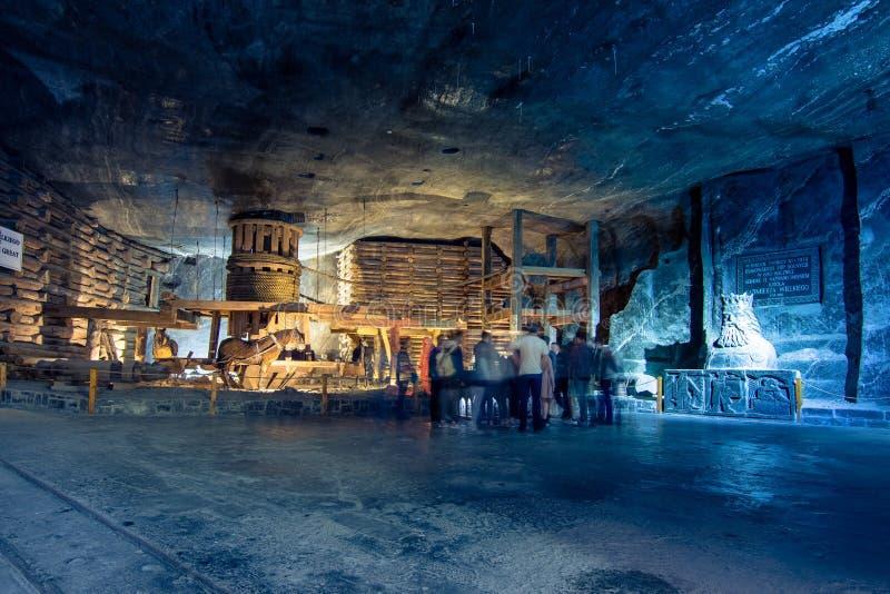 Ondergrondse Wieliczka-Zoutmijn 13de eeuw, één van de wereld` s oudste zoutmijnen, dichtbij Krakau, Polen royalty-vrije stock fotografie