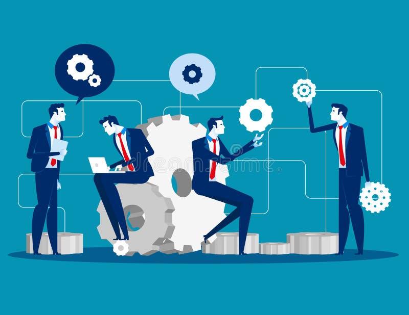 onderhoud Bedrijfsmensen voor productontwikkeling en de techniekdienst, Concepten commerciële Vlakke de dienst vectorillustratie, stock illustratie