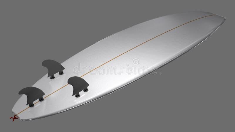 Onderkant van een korte surfplank met vinnen en vinstoppen royalty-vrije illustratie