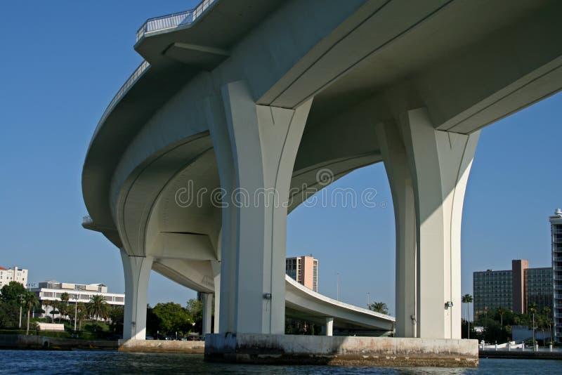 Onderkant van gebogen concrete brugsteun royalty-vrije stock afbeeldingen