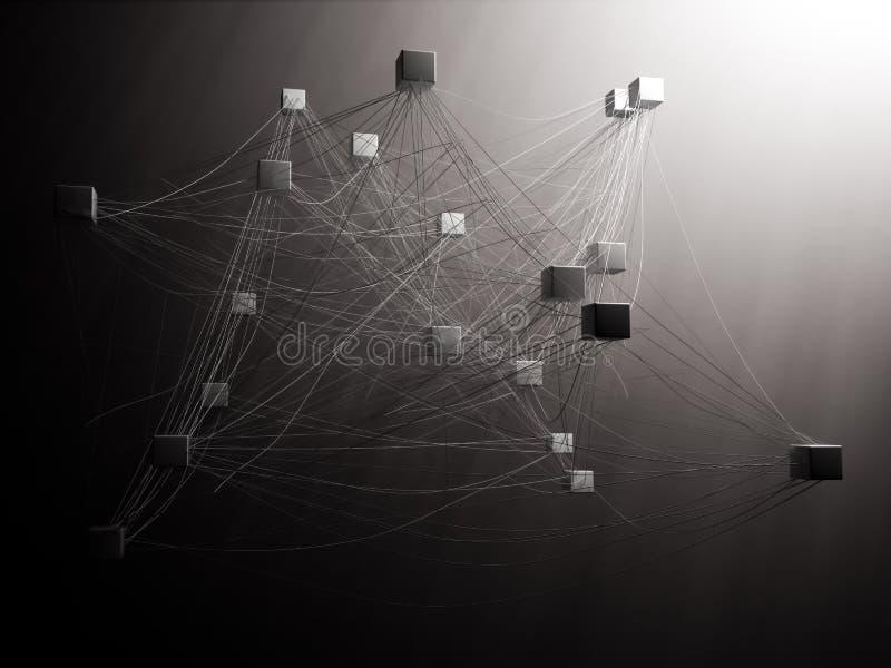 Onderling verbonden kubussen royalty-vrije illustratie