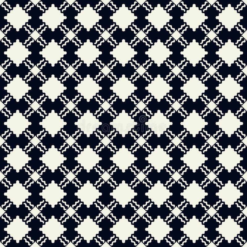 Onderling verbonden naadloze patroontextuur in donkerblauwe en roomkleuren royalty-vrije stock afbeeldingen