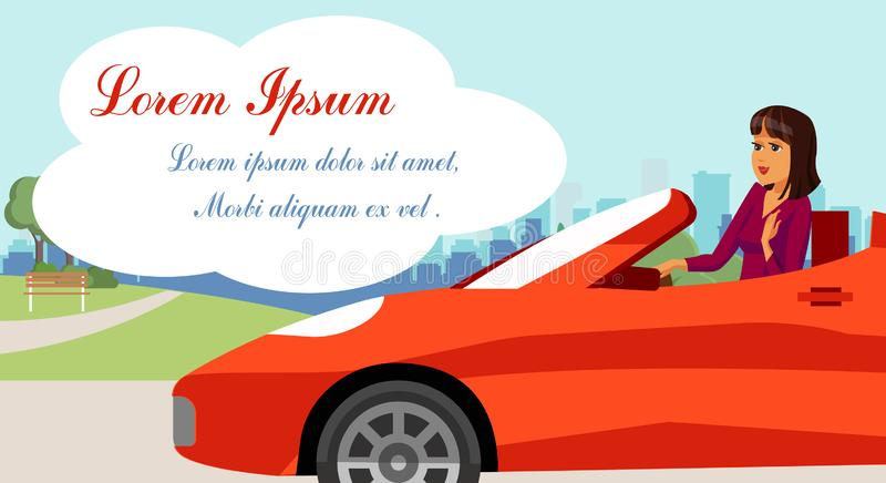 Onderneemster in Convertibele Sportwagentekening royalty-vrije illustratie