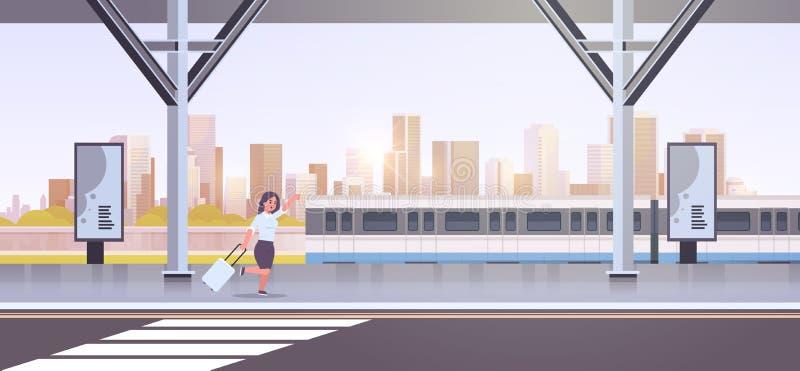 Onderneemster die aan van de bedrijfs vangsttrein vrouw met bagage op het openbare vervoer vrouwelijk beeldverhaal van de station royalty-vrije illustratie