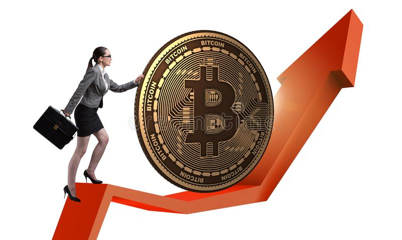 Onderneemster die bitcoin in cryptocurrency blockchain conce duwen royalty-vrije stock afbeelding