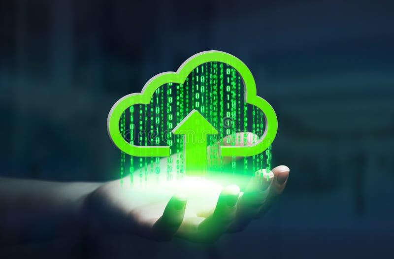 Onderneemster die digitale wolk in zijn hand houden vector illustratie