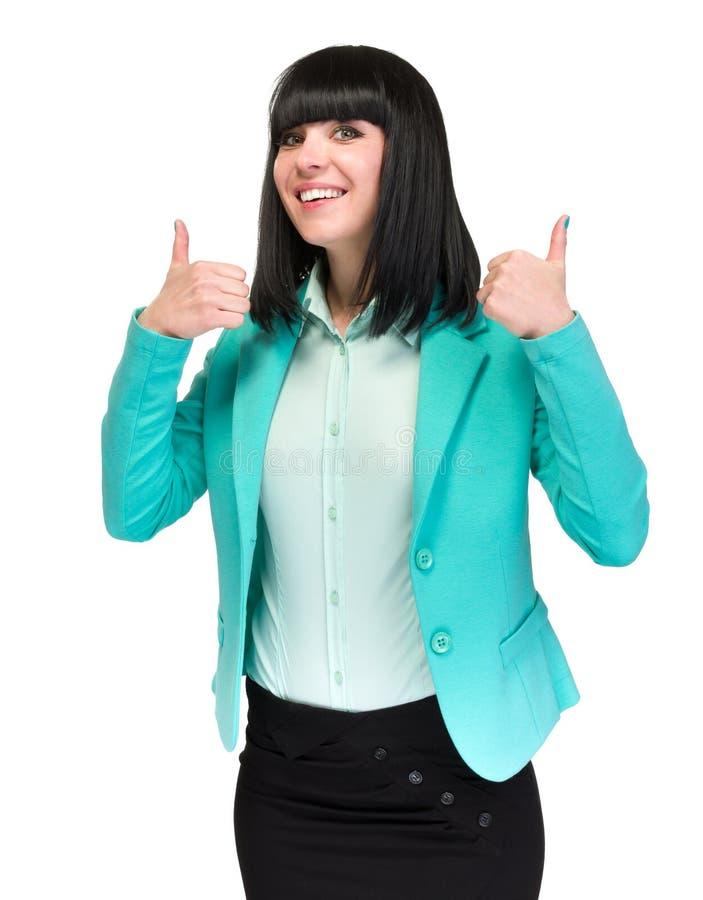 Onderneemster die duimen op handteken tonen Succesvolle en mooie Kaukasische bedrijfsdievrouw op wit wordt geïsoleerd royalty-vrije stock foto's