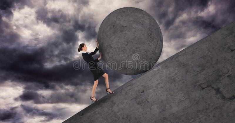 Onderneemster die een 3D steenbal boven haar duwen stock illustratie