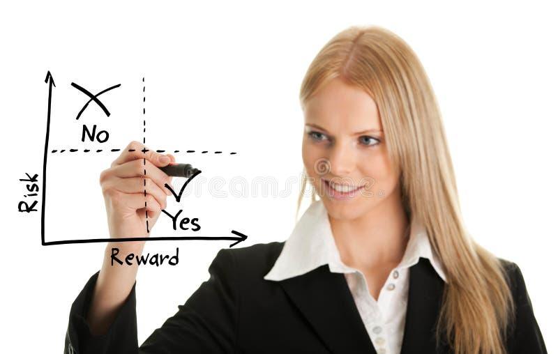Onderneemster die een risico-beloning diagram trekt stock fotografie