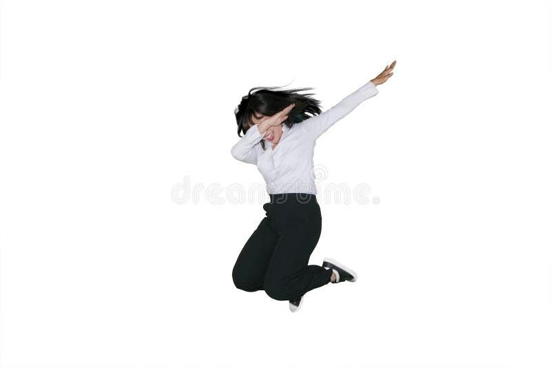 Onderneemster die en in studio dansen springen stock afbeeldingen