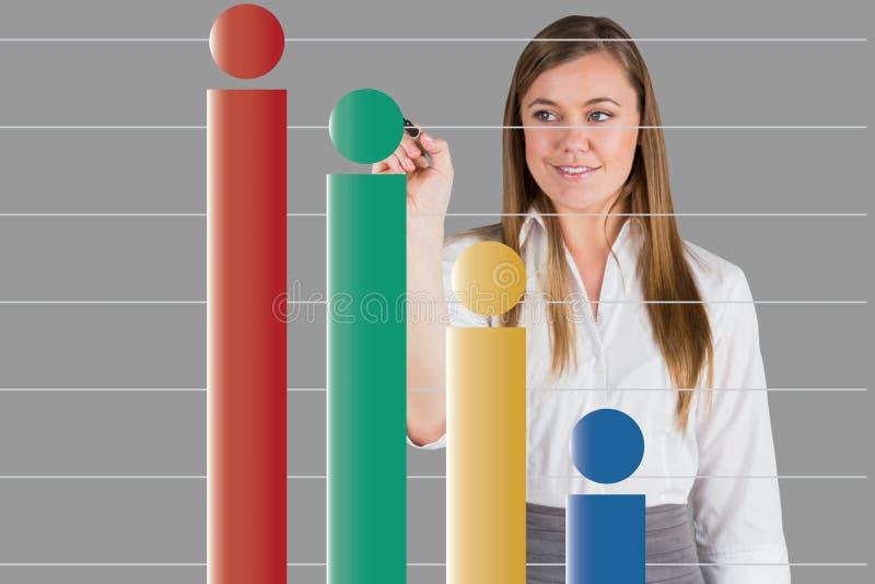 Onderneemster die grafiek op het digitale scherm tonen stock illustratie