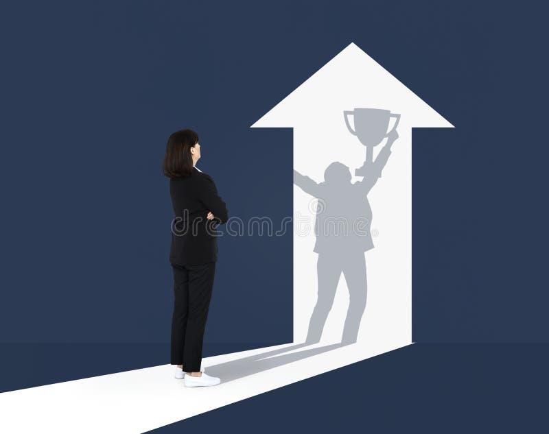 Onderneemster die haar toekomstig succes veronderstellen stock afbeelding