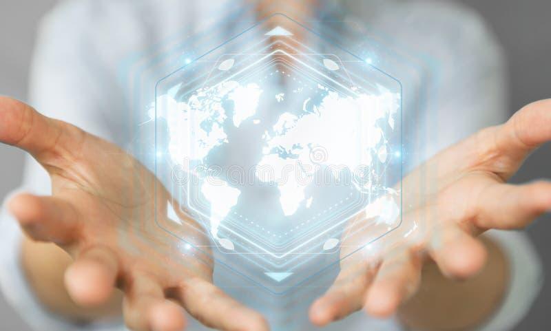 Onderneemster die het digitale de interface van de wereldkaart 3D teruggeven gebruiken stock illustratie