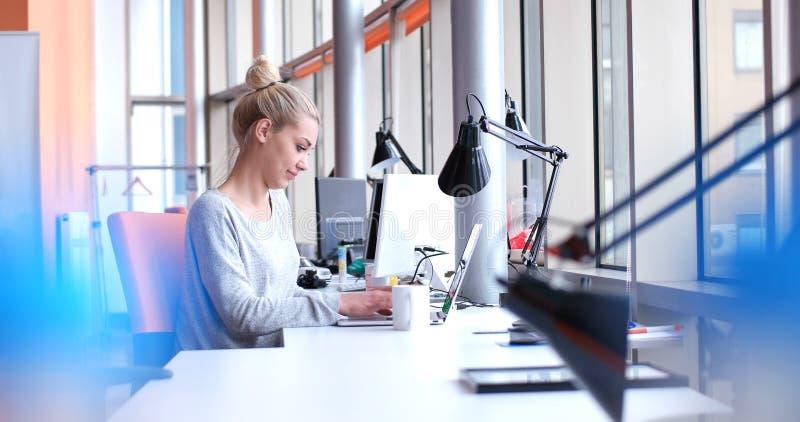 Onderneemster die laptop in startbureau met behulp van stock fotografie