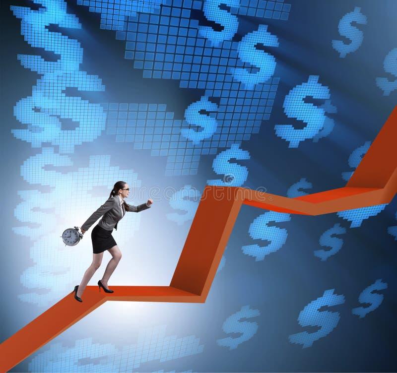 Onderneemster die lijngrafiek in economisch herstel concept beklimmen royalty-vrije stock afbeelding