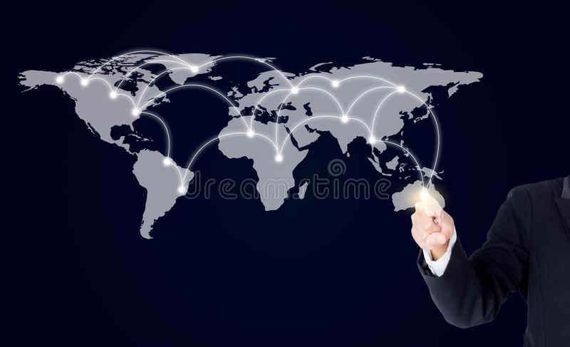 Download Onderneemster Die Met Digitaal Netwerklijn En Cirkels Richten Stock Afbeelding - Afbeelding bestaande uit informatie, knoop: 107704371