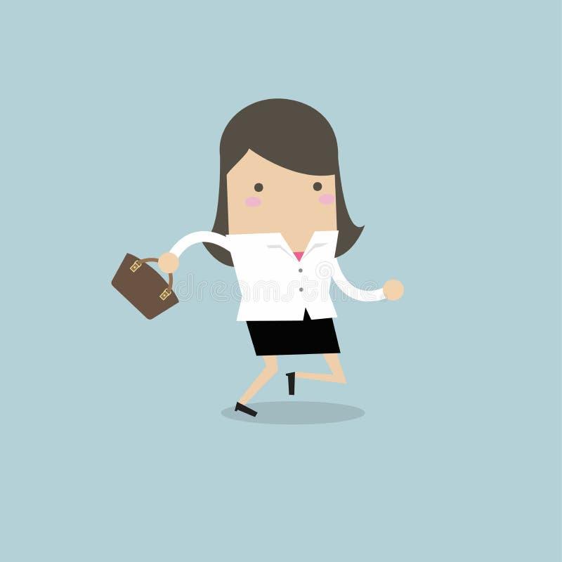 Onderneemster die met haar handtas lopen vector illustratie