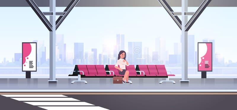 Onderneemster die moderne bushalte bedrijfsvrouw die met koffer zitten openbaar vervoer op cityscape van de luchthavenpost wachte vector illustratie