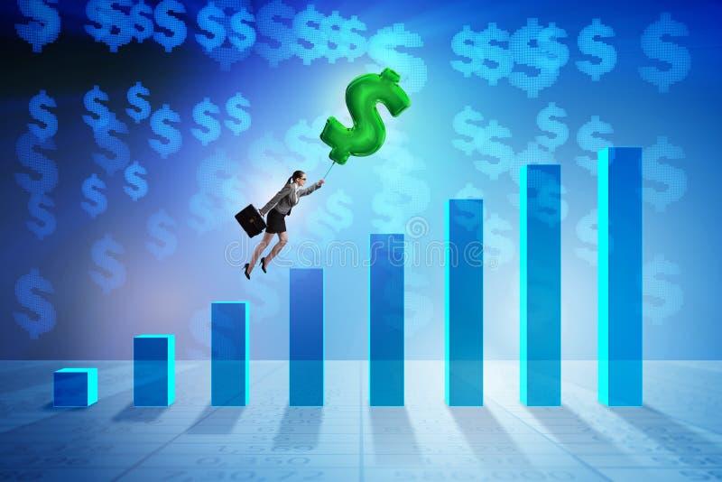 Onderneemster die op de opblaasbare ballon van het dollarteken over fina vliegen royalty-vrije illustratie