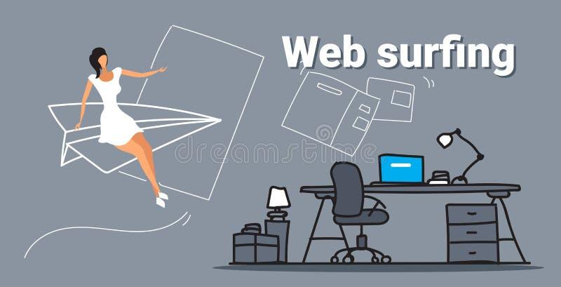 Onderneemster die op document vliegtuig vliegen die online van het bedrijfs Web surfende concept vrouw doorbladeren die computerb royalty-vrije illustratie
