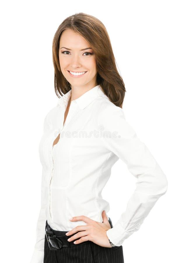 Onderneemster, die op wit wordt geïsoleerde royalty-vrije stock afbeelding