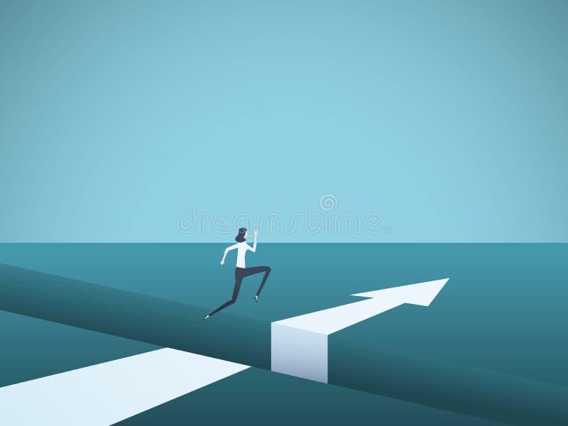 Onderneemster die over hiaat vectorconcept springen Symbool van het vinden van oplossing, succes, motivatie, ambitie en uitdaging vector illustratie