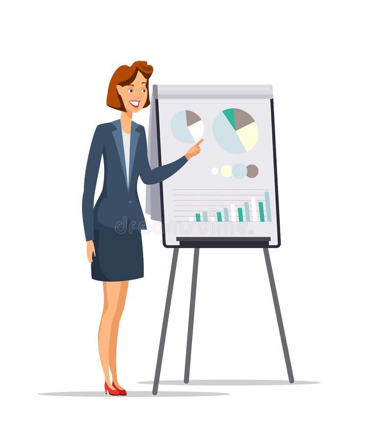 Onderneemster die presentatie vlak karakter geeft vector illustratie
