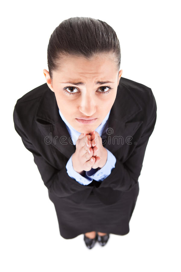 Onderneemster die voor baan bedelt stock foto