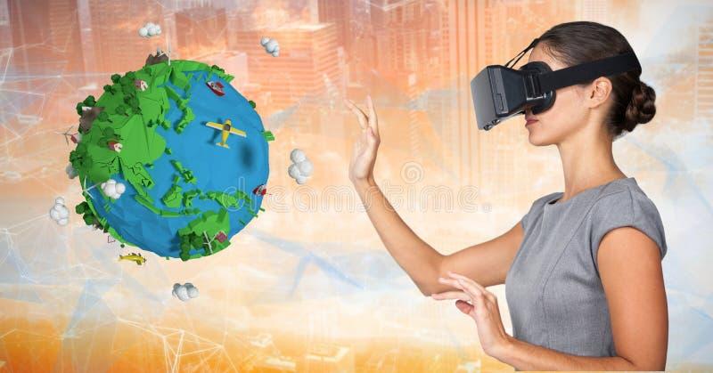 Onderneemster die VR-glazen dragen door lage polyaarde royalty-vrije stock afbeelding