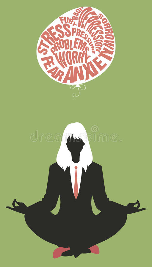 Onderneemster die yoga doet meditatie Het ontspannen en het laten van de moeilijkheden gaan royalty-vrije illustratie