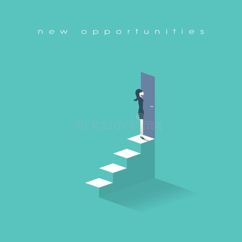 Onderneemster die zich bovenop treden in voordeuren bevinden Bedrijfssymbool, nieuwe kansen en carrièrevooruitgang royalty-vrije illustratie