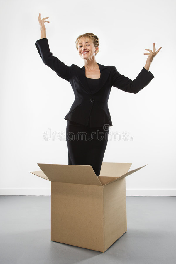 Onderneemster in doos. royalty-vrije stock foto