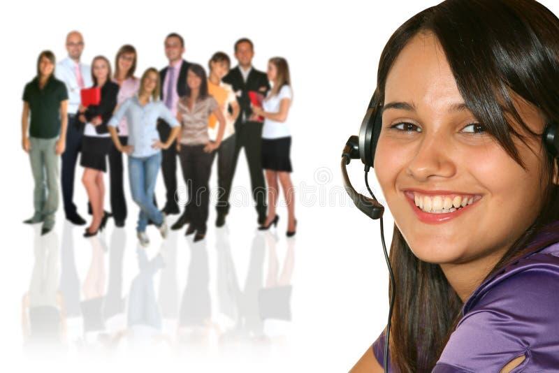 Onderneemster en businessteam stock foto