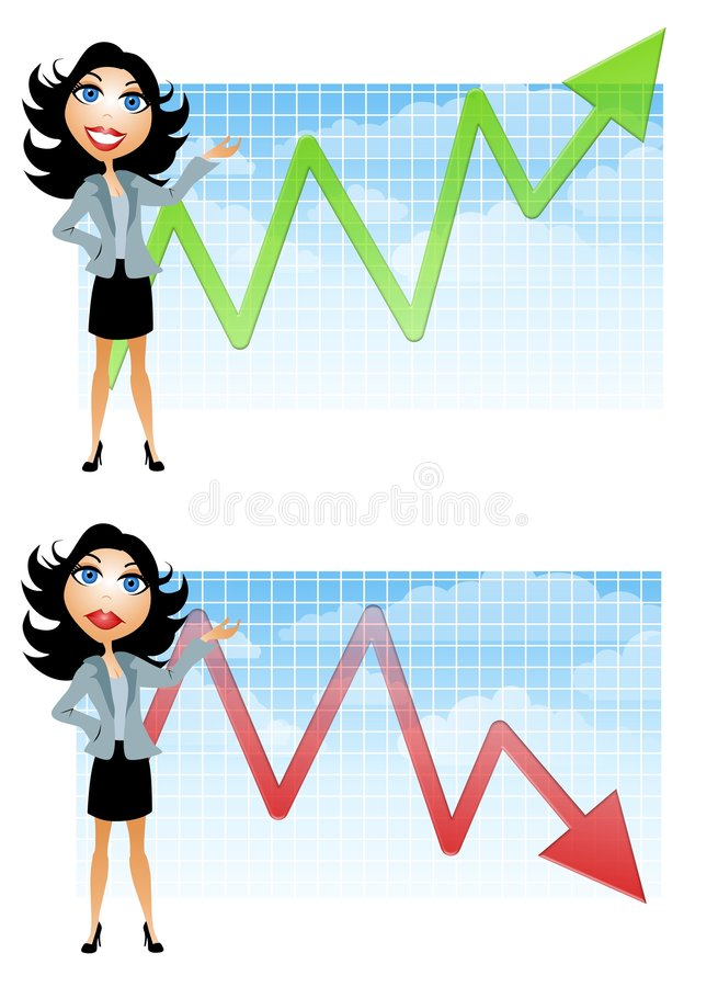 Onderneemster En De Grafieken Van De Verkoop Royalty-vrije Stock Afbeelding