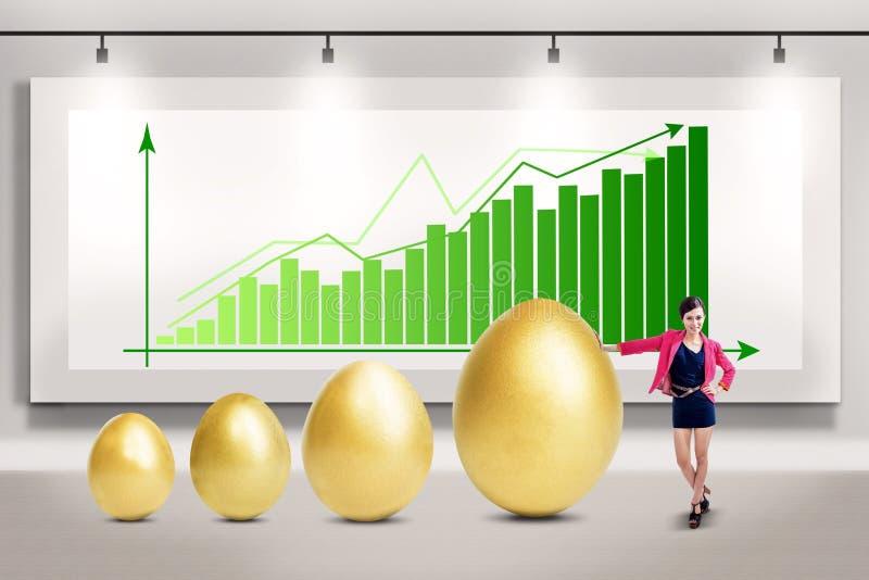 Onderneemster en de winstgroei stock foto