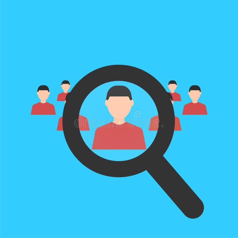 Onderneemster en een grote groep bedrijfsmensen Magnifier die een mens zoeken Zoek naar employe rekrutering Bedrijfs concept Vlak vector illustratie