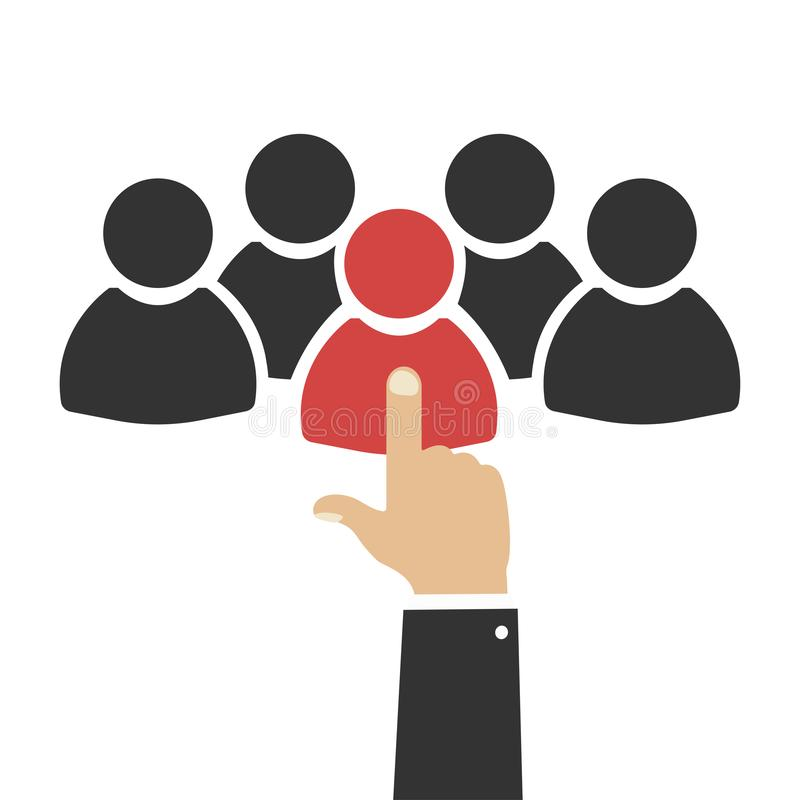 Onderneemster en een grote groep bedrijfsmensen Groep mensen Het Gesprek van de baan Keus van persoon Persoon geschikt voor het w royalty-vrije illustratie