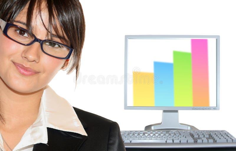 Onderneemster en lcd monitor stock afbeeldingen