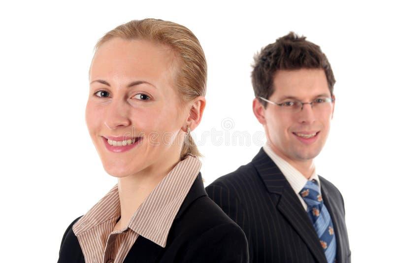 Onderneemster en zakenman stock foto