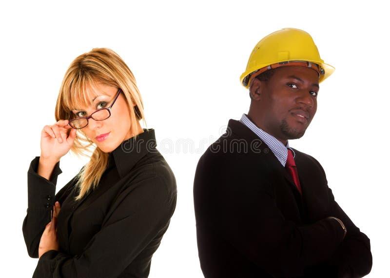 Onderneemster en zakenman stock afbeeldingen