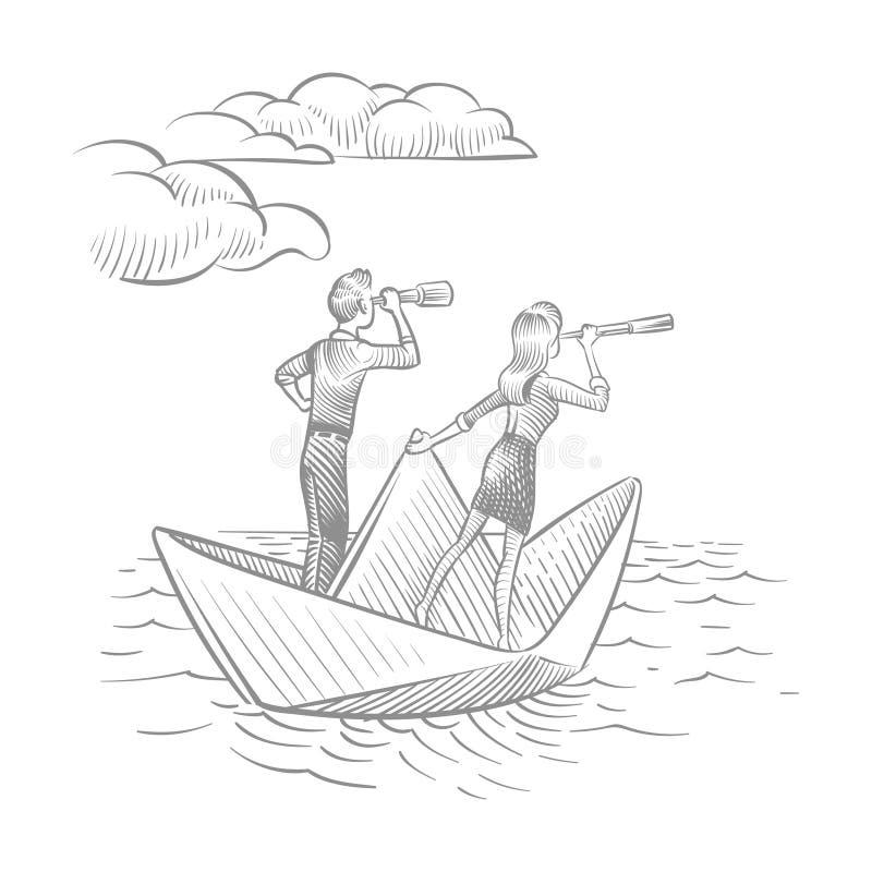 Onderneemster en zakenman met telescopen die op document boot varen Toekomstige carri?revisie en leidings vectorkrabbel royalty-vrije illustratie