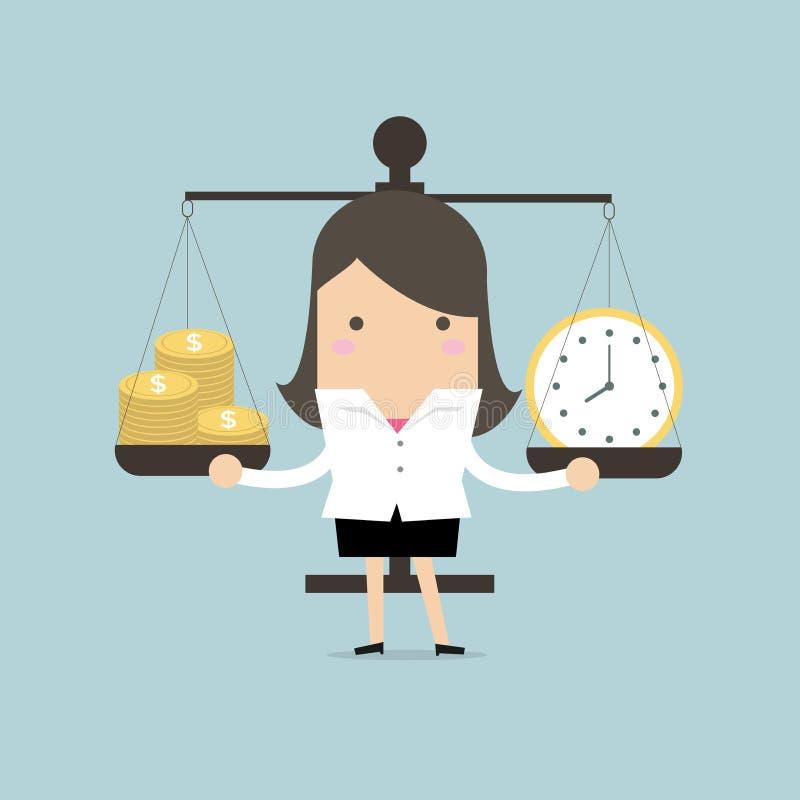 Onderneemster in evenwicht brengende tijd en geld vector illustratie