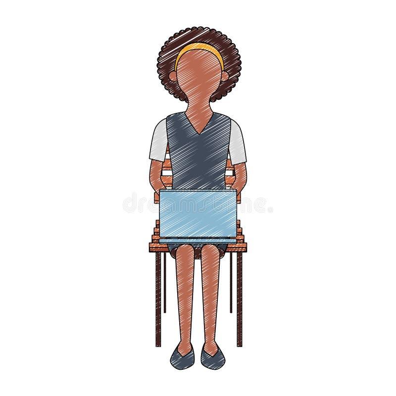 Onderneemster gezet op stoel die laptop anoniem gekrabbel gebruiken stock illustratie