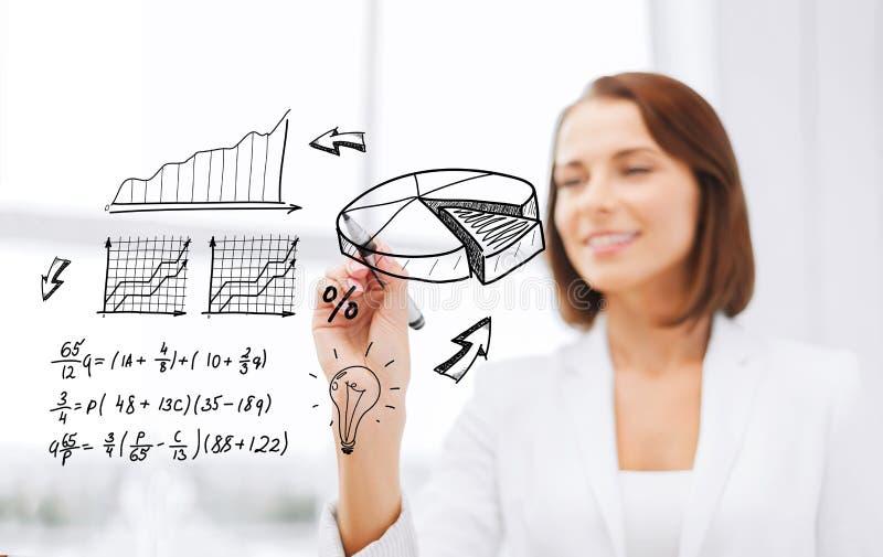 Onderneemster het schrijven grafiek op het virtuele scherm stock fotografie