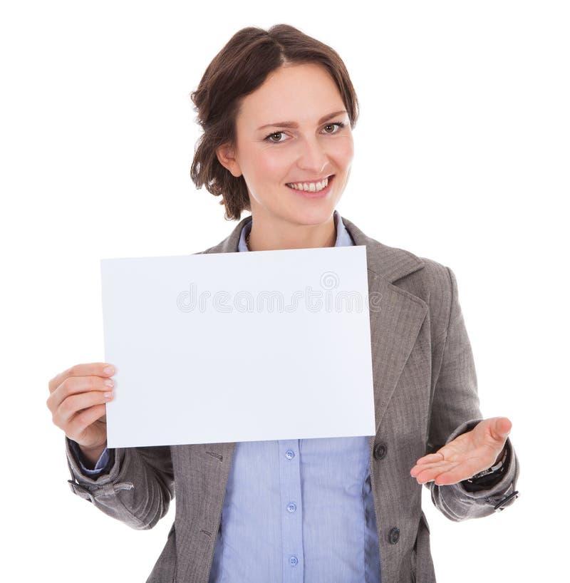 Onderneemster Holding Placard royalty-vrije stock afbeeldingen