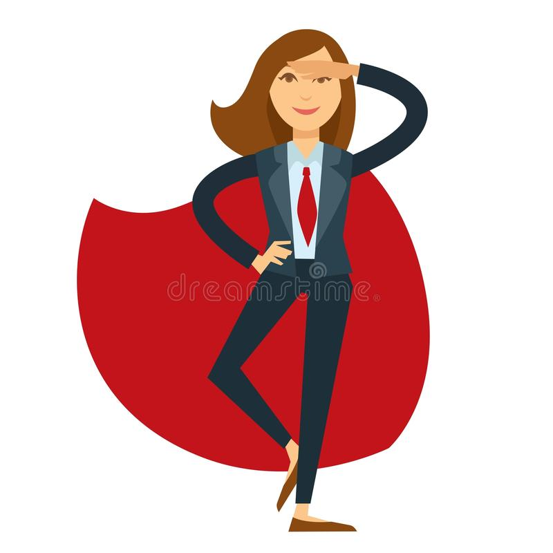 Onderneemster in kostuum met rode band en mantel vector illustratie
